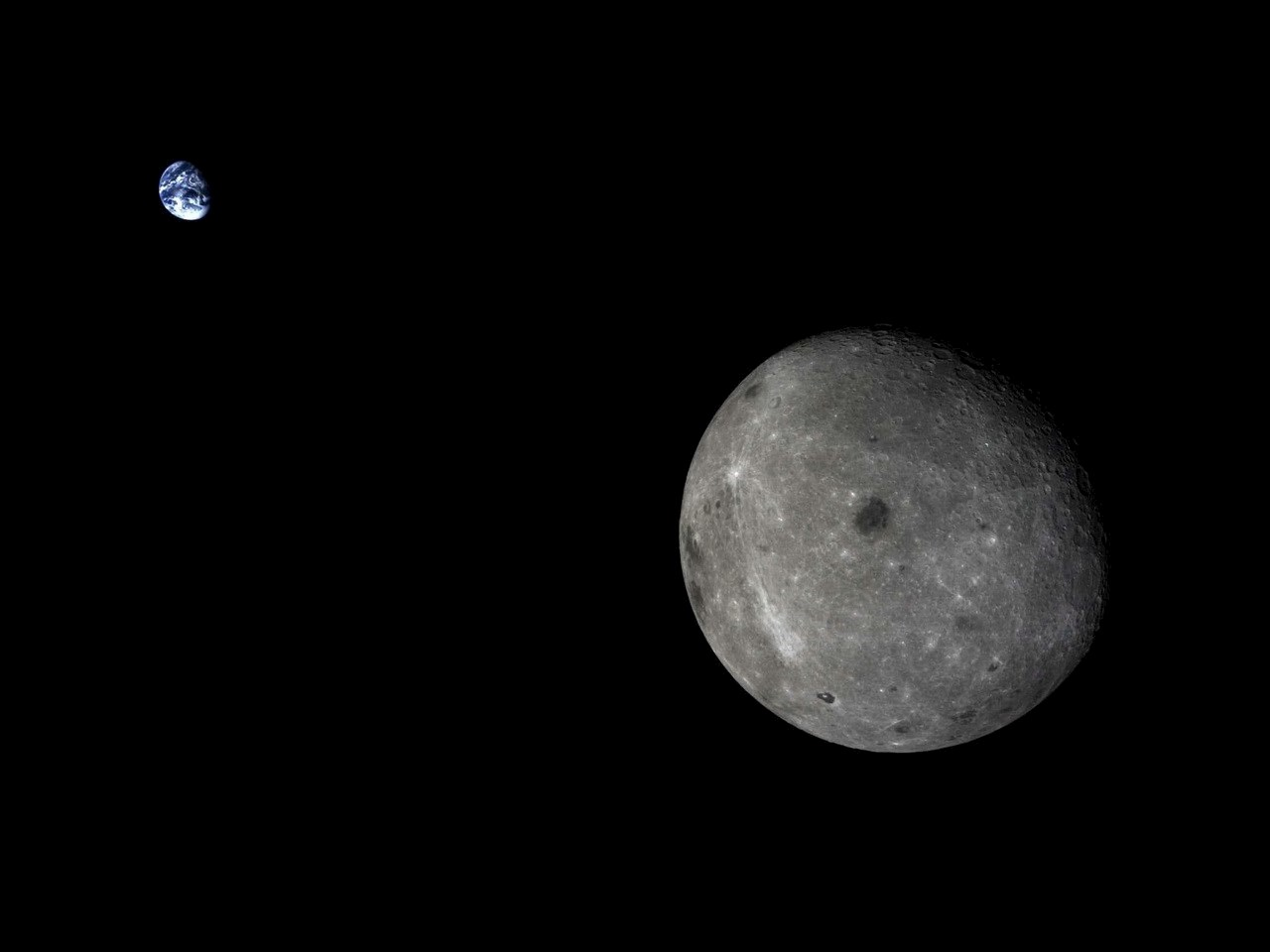 The Moon and distant Earth