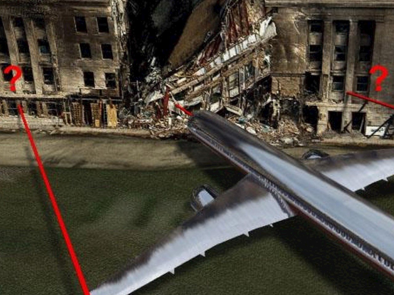Illustration of an airplane hit the Pentagon