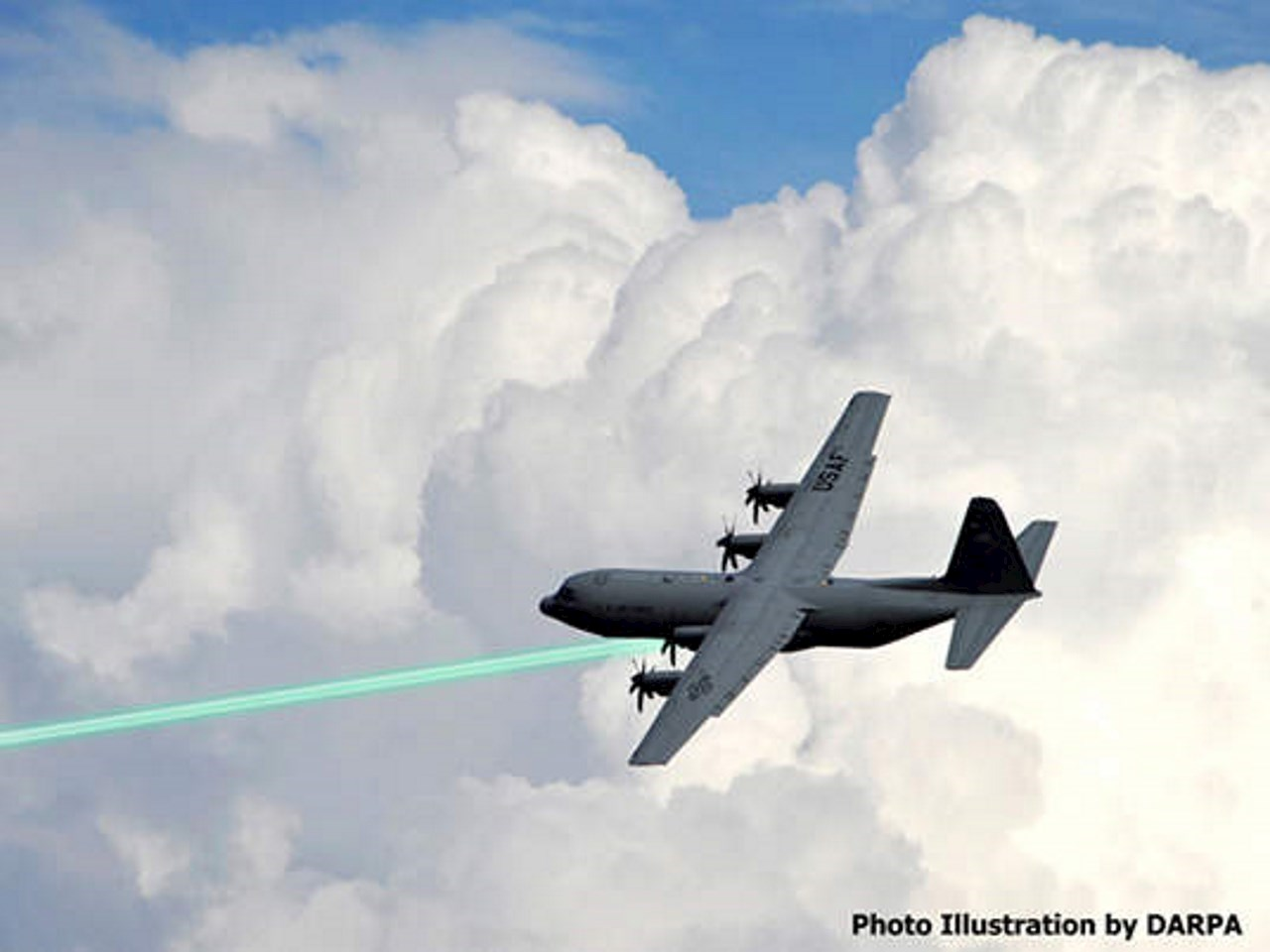 Illustration of a USAF plane firing the HELLADS laser